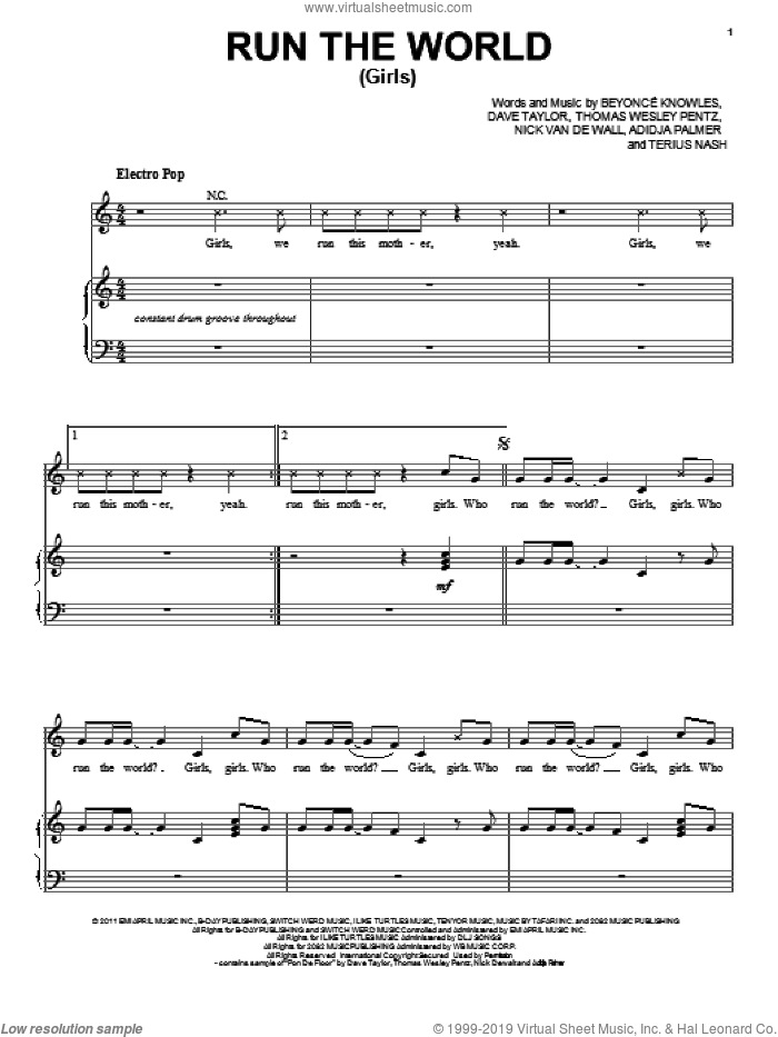 Run The World (Girls) sheet music for voice, piano or guitar by Beyonce, Adidja Palmer, Dave Taylor, Nick Van De Wall, Terius Nash and Thomas Wesley Pentz, intermediate skill level