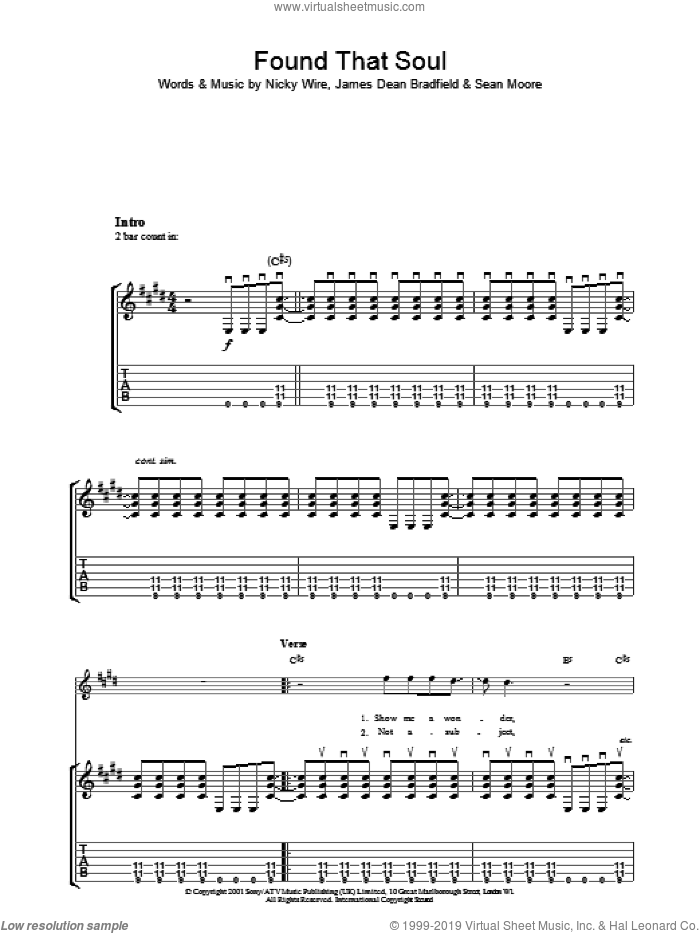 Found That Soul sheet music for guitar (tablature) by Manic Street Preachers and James Dean Bradfield. Score Image Preview.