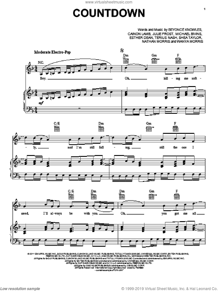 Countdown sheet music for voice, piano or guitar by Beyonce, Cainon Lamb, Ester Dean, Julie Frost, Michael Bivins, Nathan Morris, Shea Taylor, Terius Nash and Wanya Morris, intermediate skill level