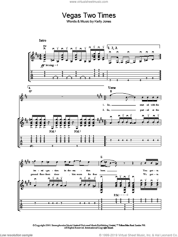 Vegas Two Times sheet music for guitar (tablature) by Stereophonics and Kelly Jones, intermediate skill level