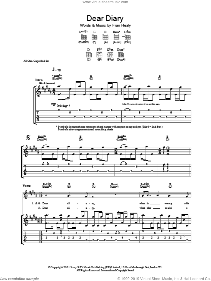 Dear Diary sheet music for guitar (tablature) by Fran Healy and Merle Travis. Score Image Preview.