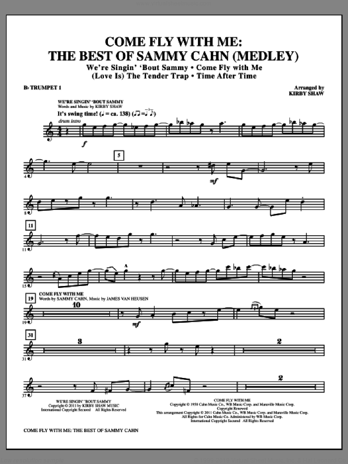 Come Fly With Me: The Best Of Sammy Cahn (complete set of parts) sheet music for orchestra/band by Kirby Shaw, Jimmy van Heusen and Sammy Cahn, intermediate skill level