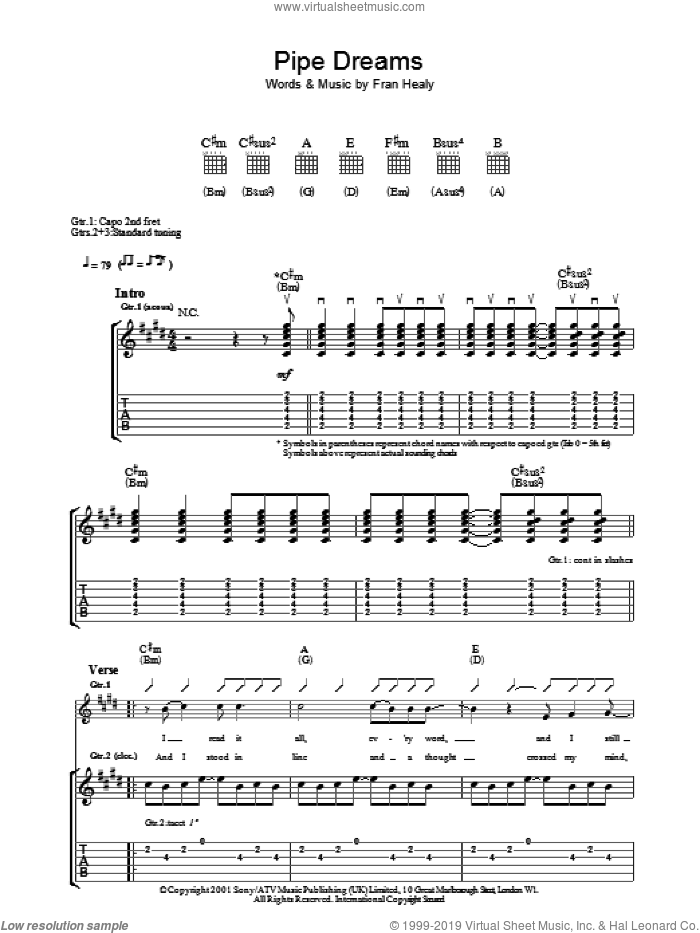 Pipe Dreams sheet music for guitar (tablature) by Merle Travis. Score Image Preview.