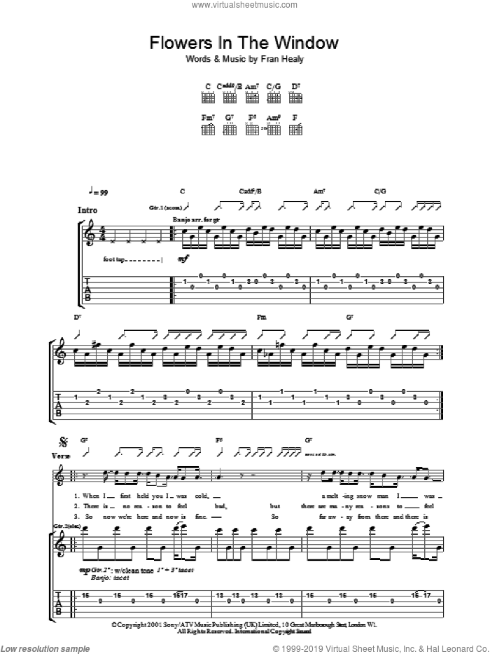 Flowers In The Window sheet music for guitar (tablature) by Merle Travis and Fran Healy, intermediate skill level