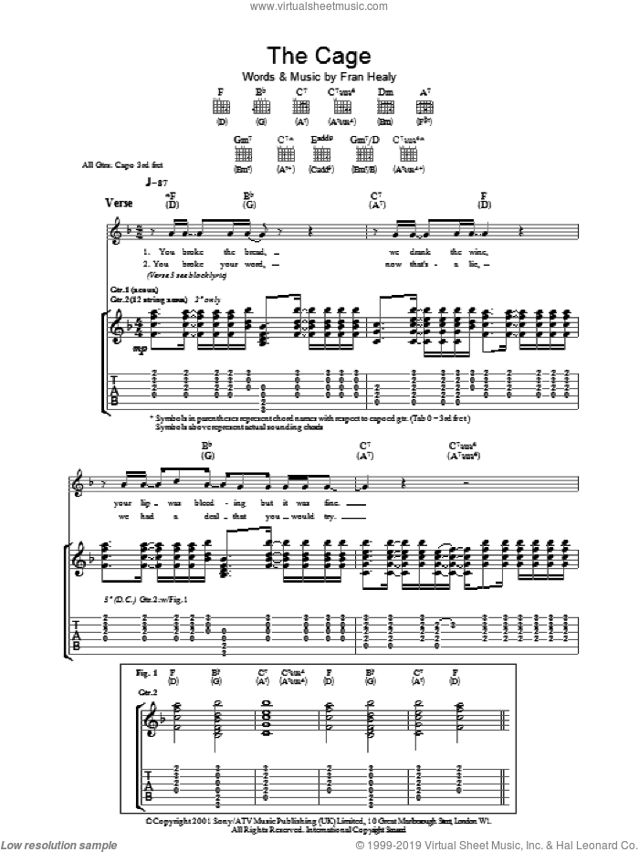 The Cage sheet music for guitar (tablature) by Merle Travis and Fran Healy, intermediate skill level