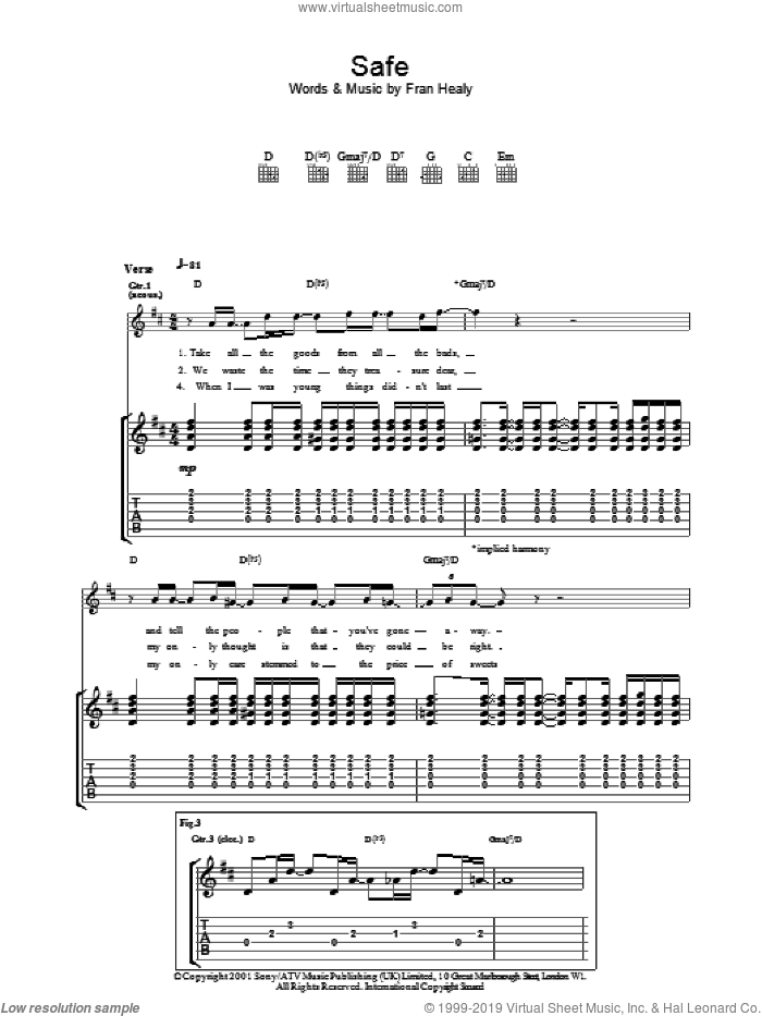 Safe sheet music for guitar (tablature) by Merle Travis and Fran Healy, intermediate