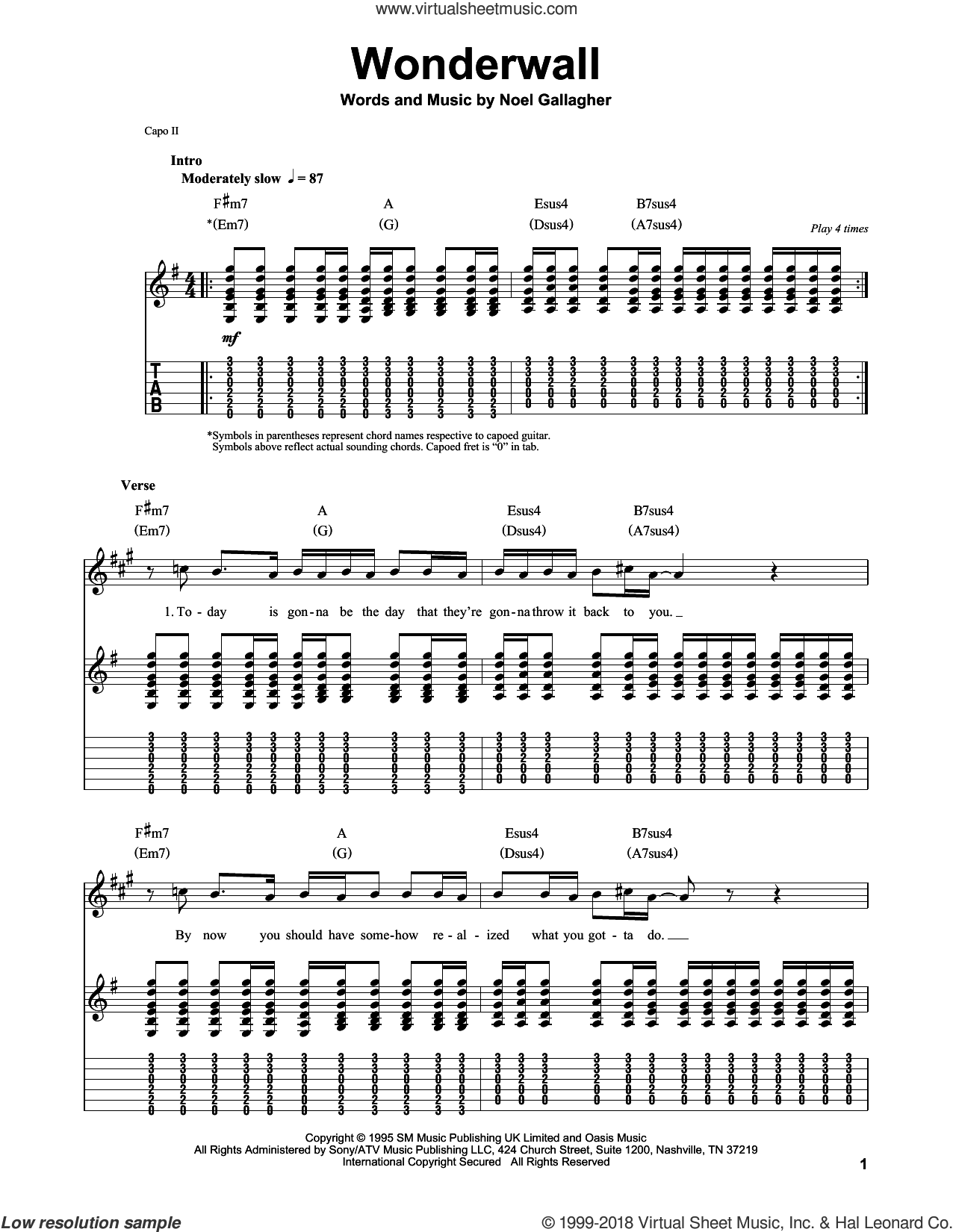 Wonderwall sheet music for guitar (tablature, play-along) by Oasis and Noel Gallagher, intermediate