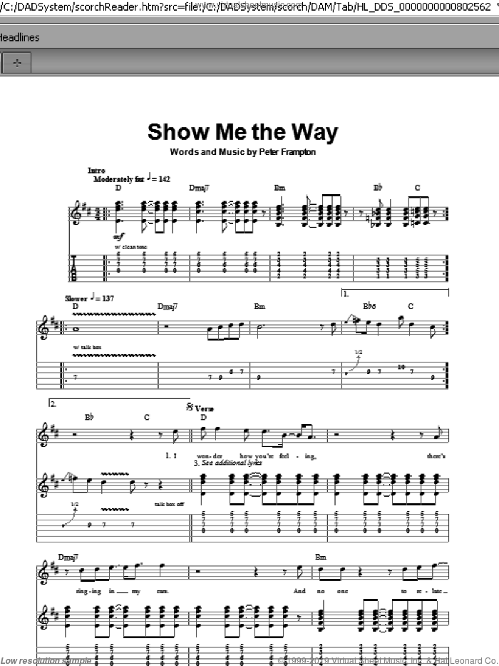 Show Me The Way sheet music for guitar (tablature, play-along) by Peter Frampton. Score Image Preview.