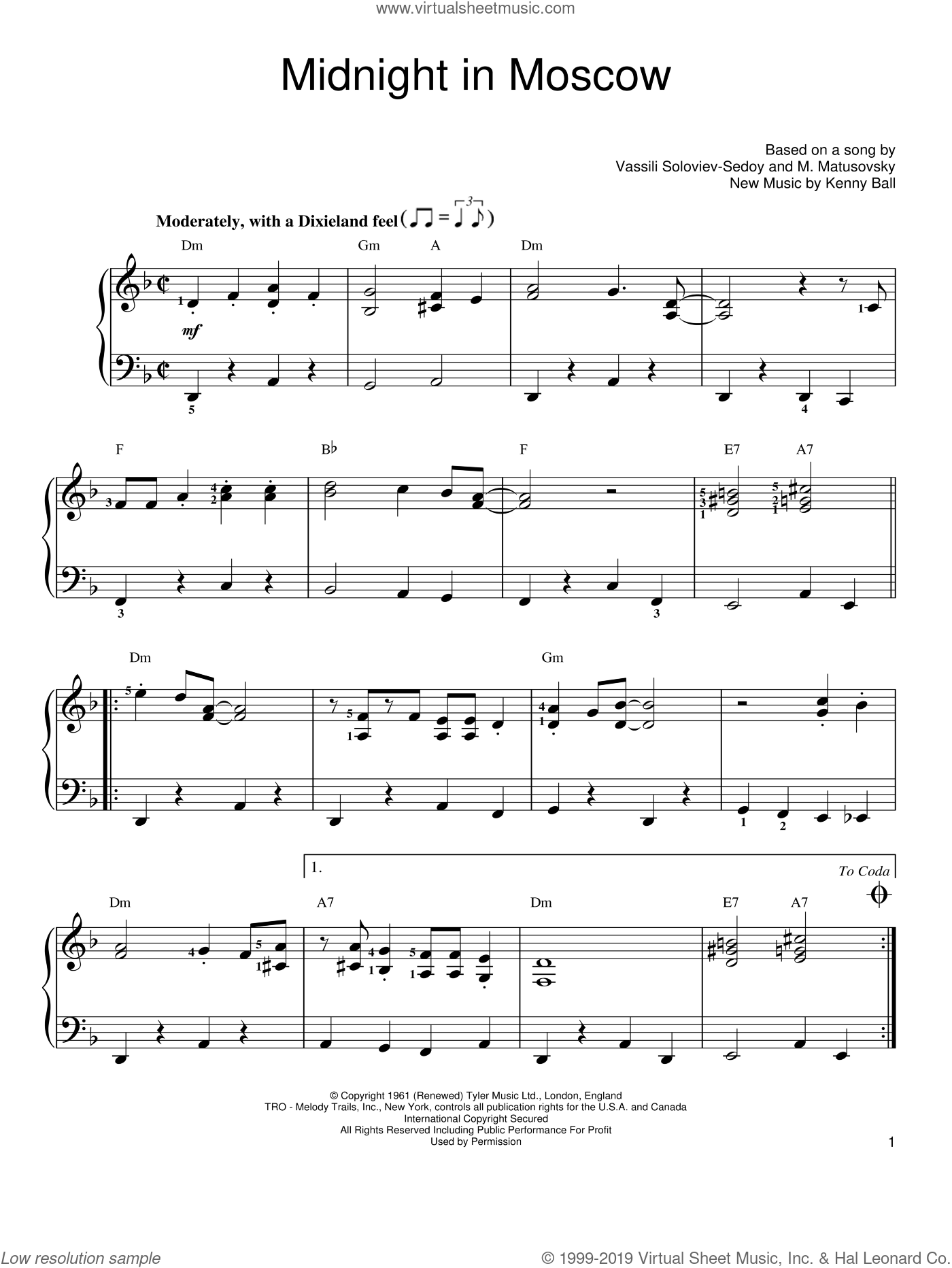 Midnight In Moscow sheet music for piano solo by Kenny Ball. Score Image Preview.