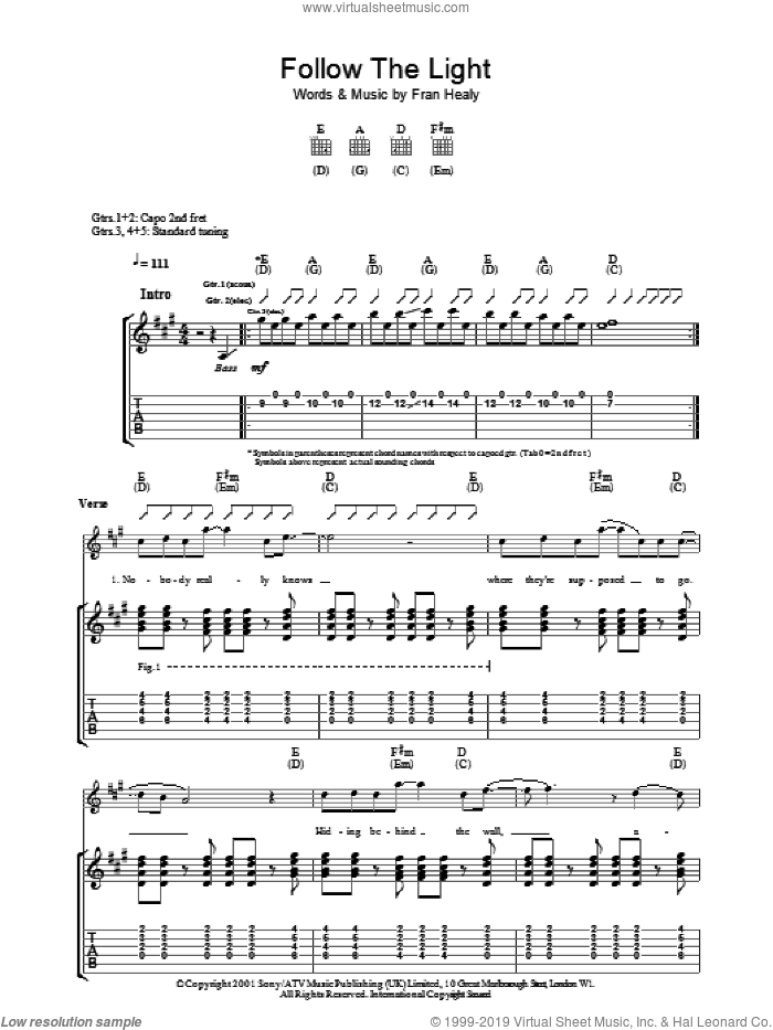 Follow The Light sheet music for guitar (tablature) by Fran Healy and Merle Travis. Score Image Preview.