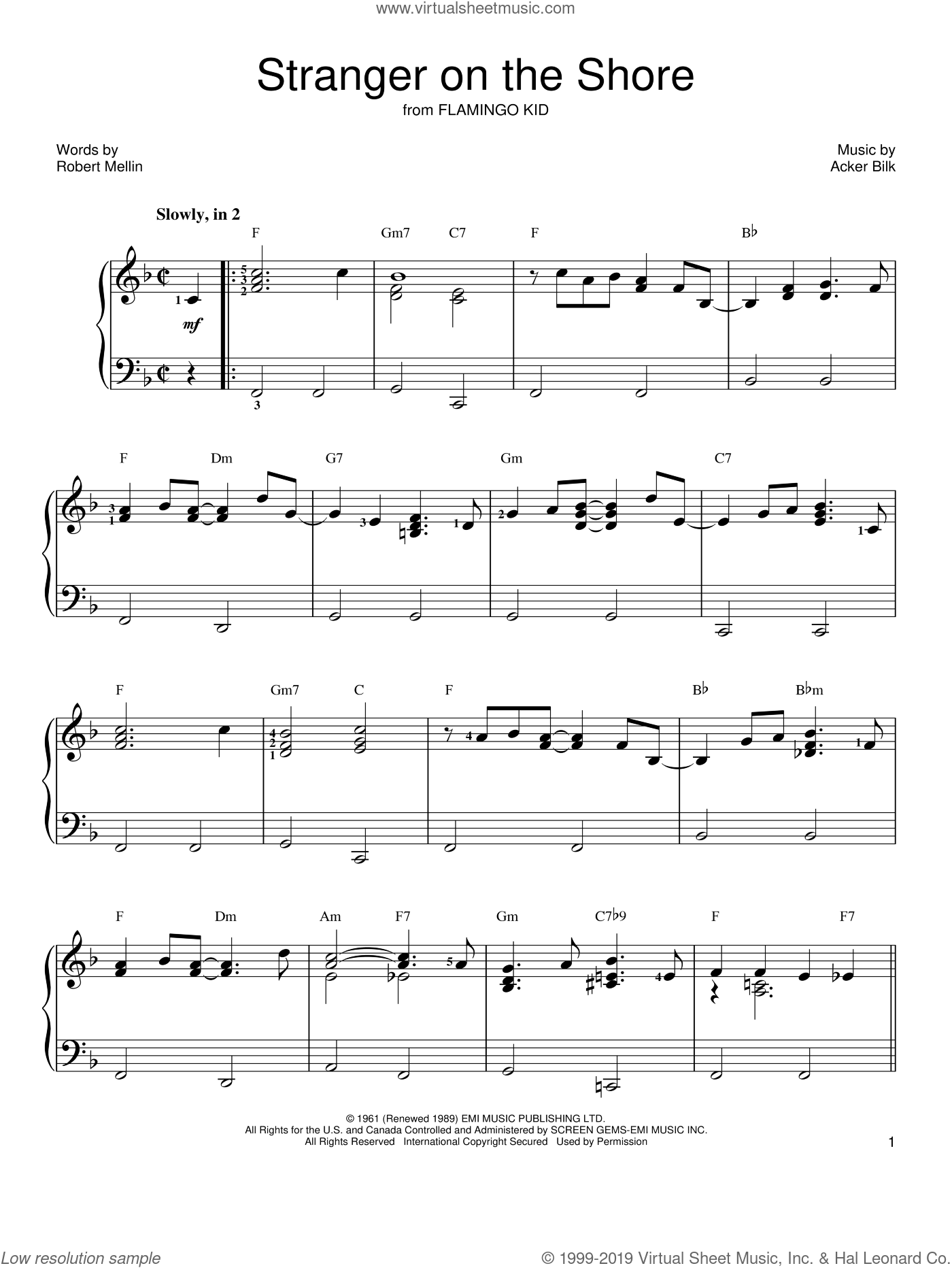 Stranger On The Shore sheet music for piano solo (chords) by Robert Mellin