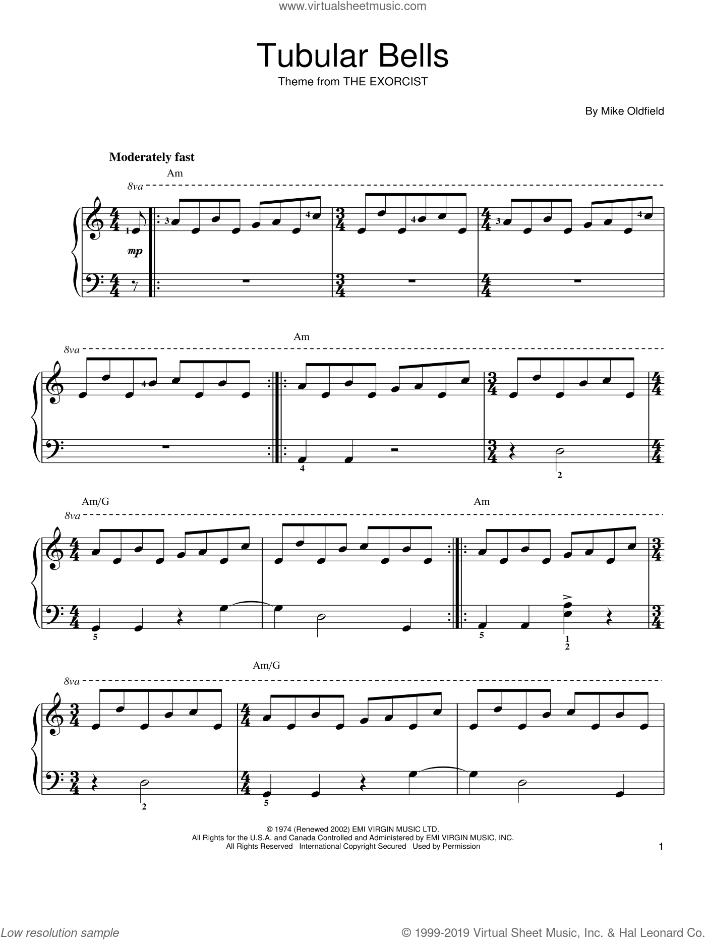 Tubular Bells sheet music for piano solo by Mike Oldfield. Score Image Preview.