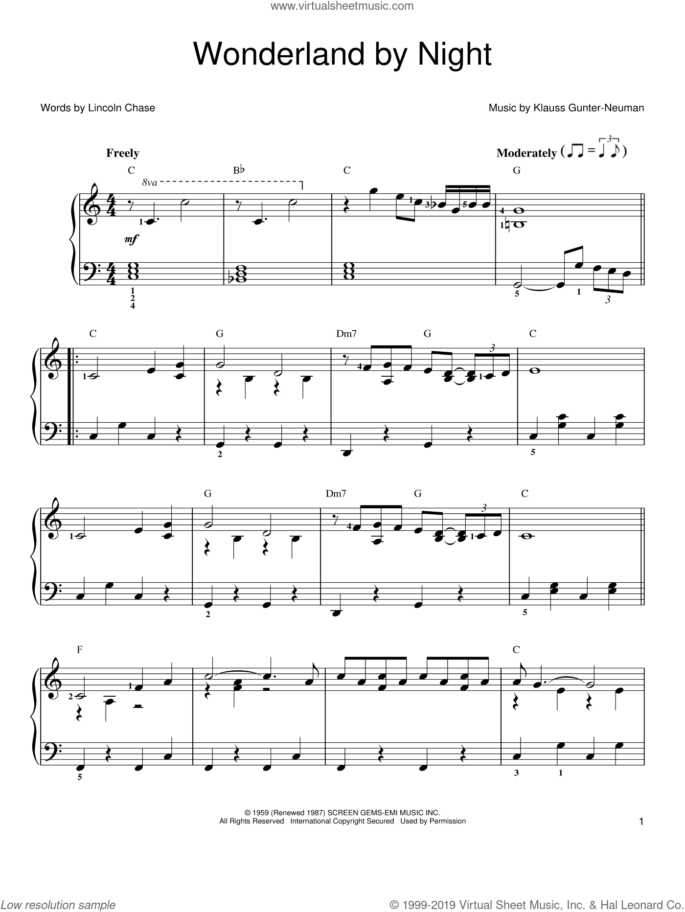 Wonderland By Night sheet music for piano solo by Bert Kaempfert, Klauss Gunter-Neuman and Lincoln Chase, easy skill level