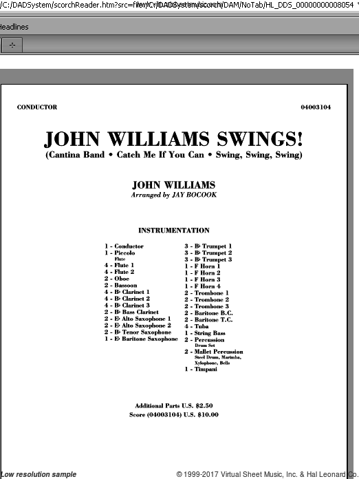 John Williams Swings! (COMPLETE) sheet music for concert band by John Williams