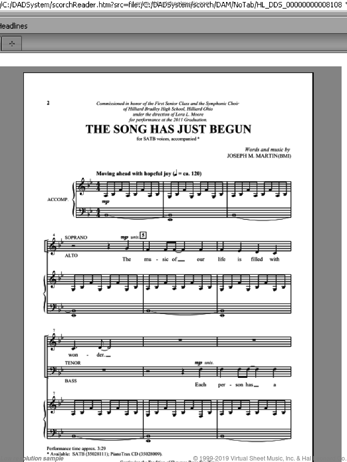 The Song Has Just Begun sheet music for choir (SATB) by Joseph Martin and Joseph M. Martin. Score Image Preview.