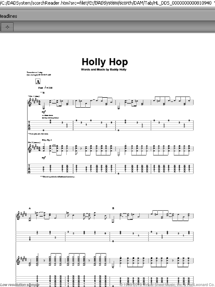 Holly Hop sheet music for guitar (tablature) by Buddy Holly. Score Image Preview.
