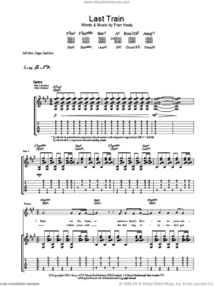 Last Train sheet music for guitar (tablature) by Merle Travis and Fran Healy, intermediate