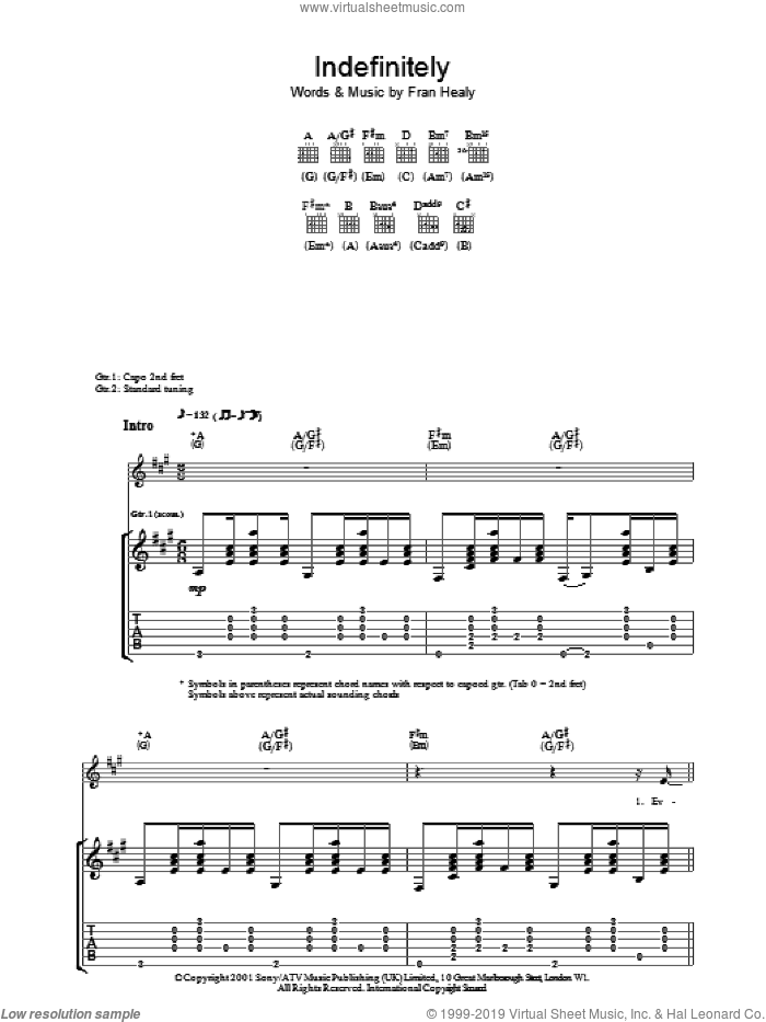 Indefinitely sheet music for guitar (tablature) by Merle Travis and Fran Healy, intermediate skill level