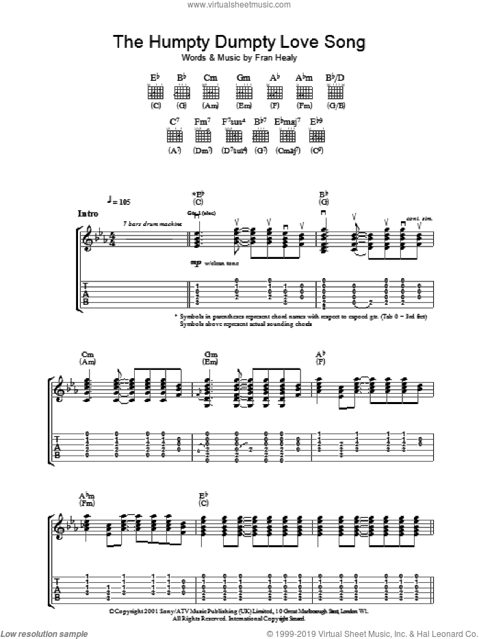 The Humpty Dumpty Love Song sheet music for guitar (tablature) by Merle Travis. Score Image Preview.