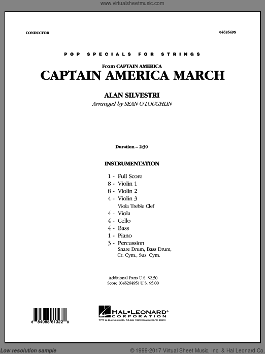 Captain America March (COMPLETE) sheet music for orchestra by Alan Silvestri