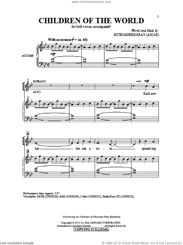 Children Of The World sheet music for choir (SAB) by Ruth Morris Gray. Score Image Preview.