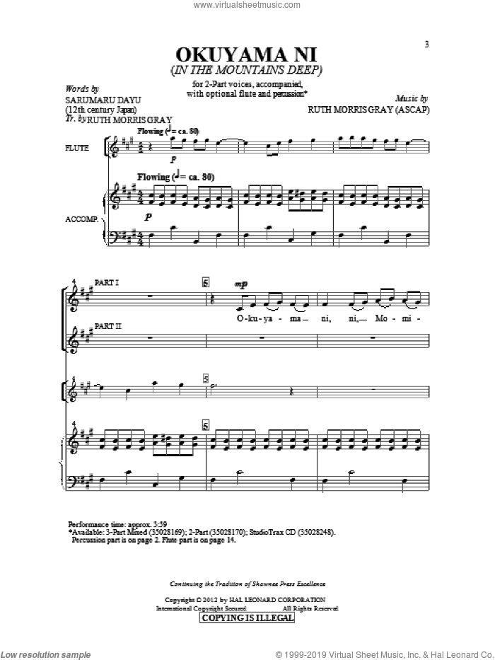 Okuyami Ni (In The Mountains Deep) sheet music for choir (duets) by Ruth Morris Gray. Score Image Preview.