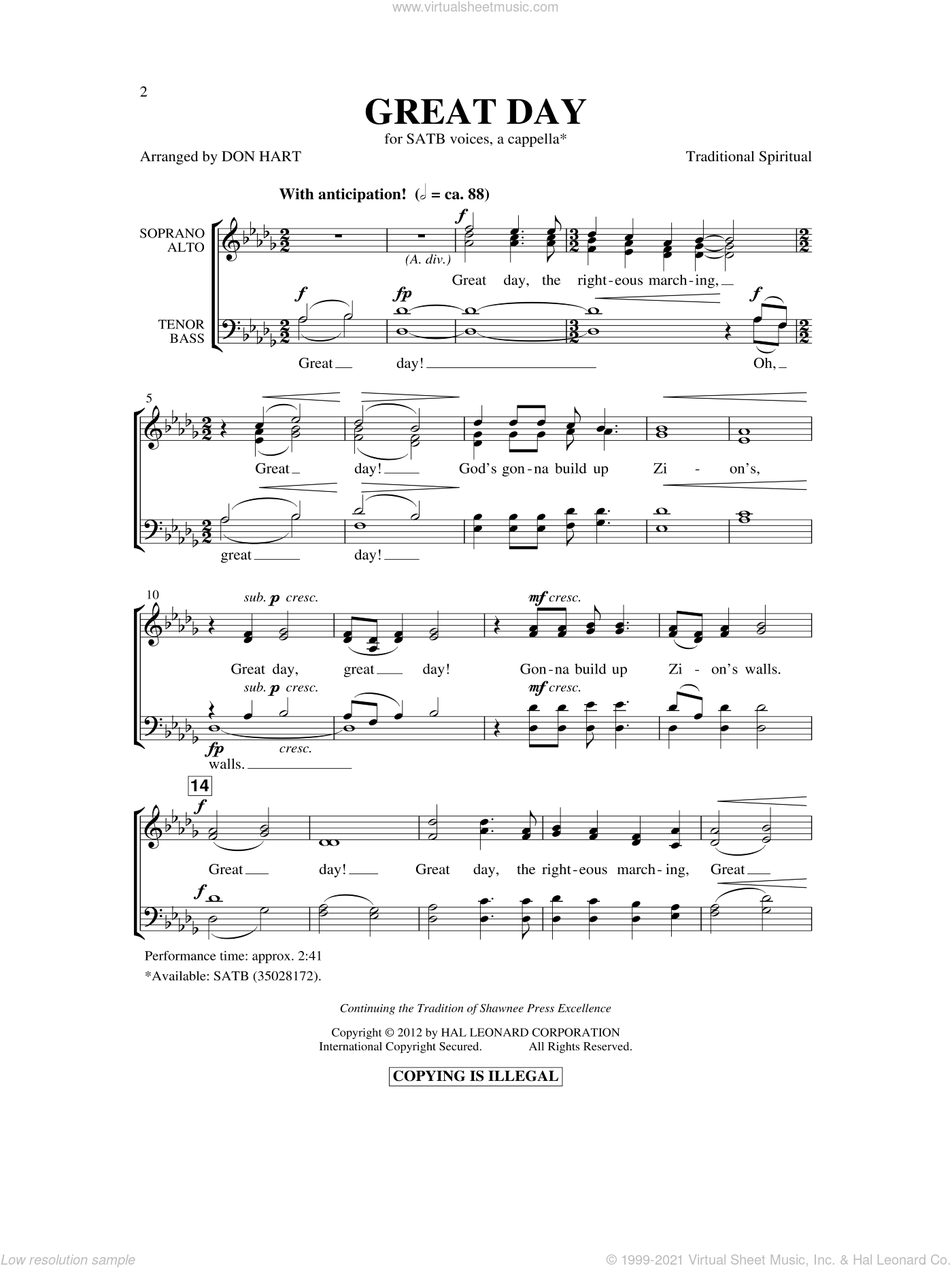 Great Day sheet music for choir (SATB) by Don Hart and Miscellaneous. Score Image Preview.