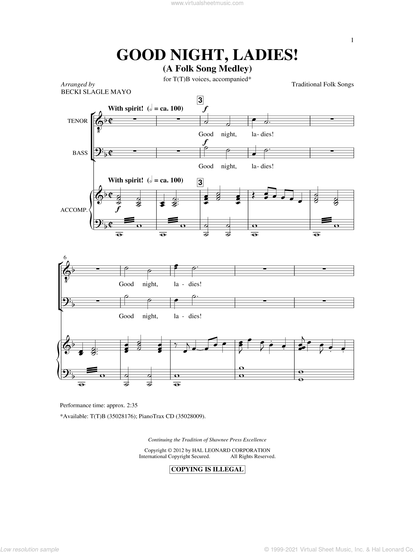 Good Night, Ladies! (A Folk Song Medley) sheet music for choir (TTBB: tenor, bass) by Stephen Foster and Becki Slagle Mayo, intermediate skill level