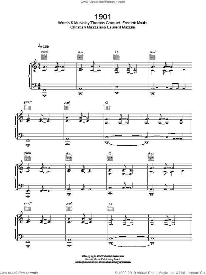 1901 sheet music for voice, piano or guitar by Birdy, Christian Mazzalai, Frederic Moulin, Laurent Mazzalai and Thomas Croquet, intermediate. Score Image Preview.