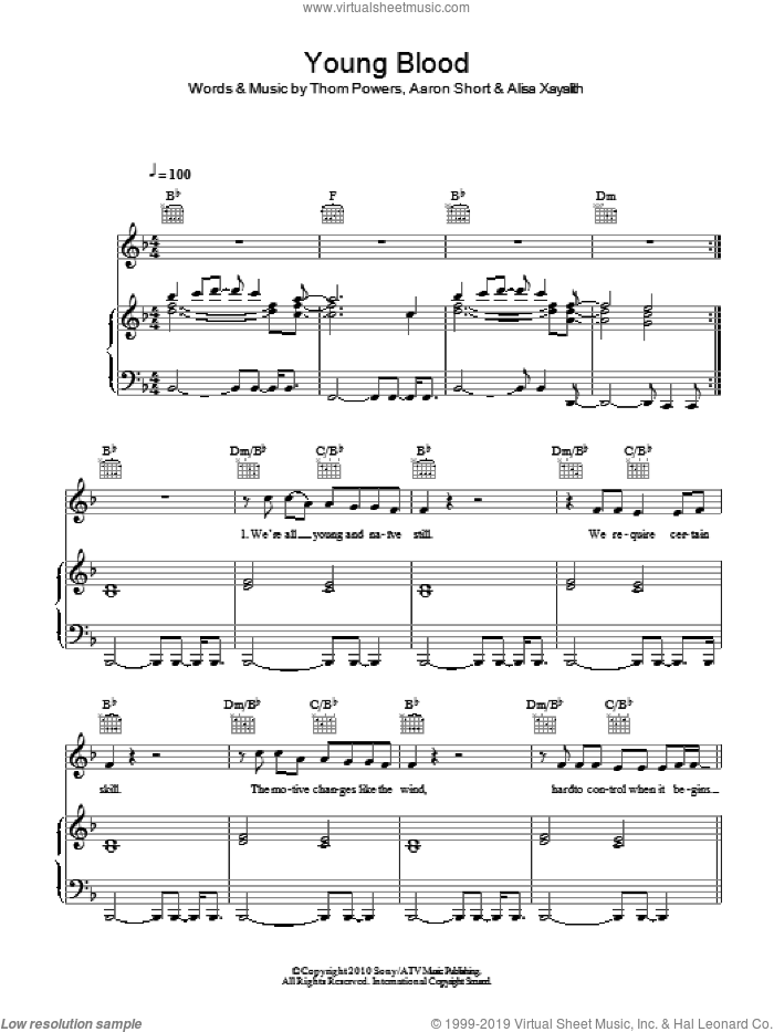 Young Blood sheet music for voice, piano or guitar by Birdy, Aaron Short, Alisa Xayalith and Thom Powers, intermediate skill level