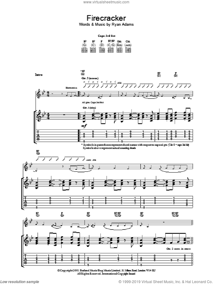 Firecracker sheet music for guitar (tablature) by Ryan Adams. Score Image Preview.