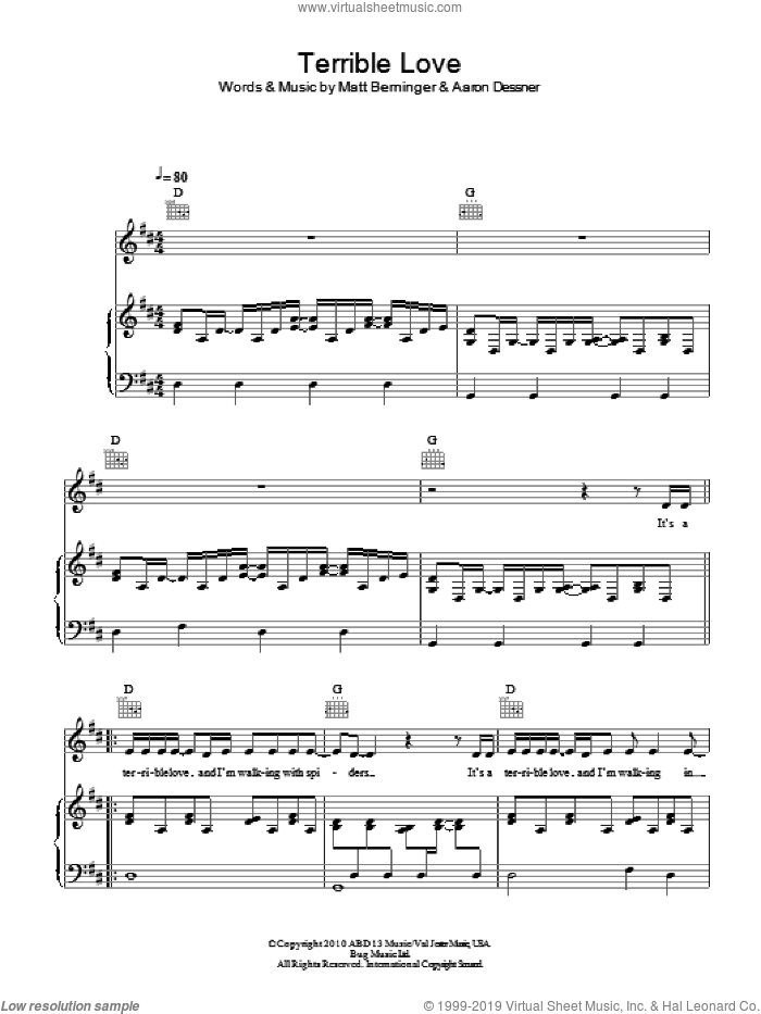 Terrible Love sheet music for voice, piano or guitar by Birdy, Aaron Dessner and Matt Berninger, intermediate skill level