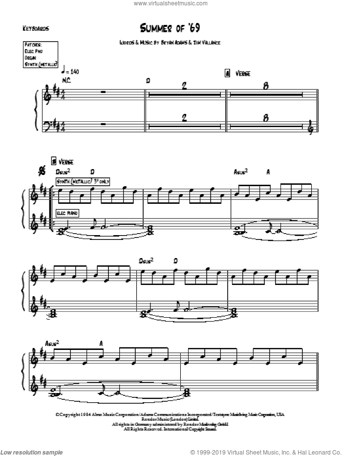 Summer Of '69 sheet music for piano solo (chords, lyrics, melody) by Bryan Adams and Jim Vallance, intermediate piano (chords, lyrics, melody)