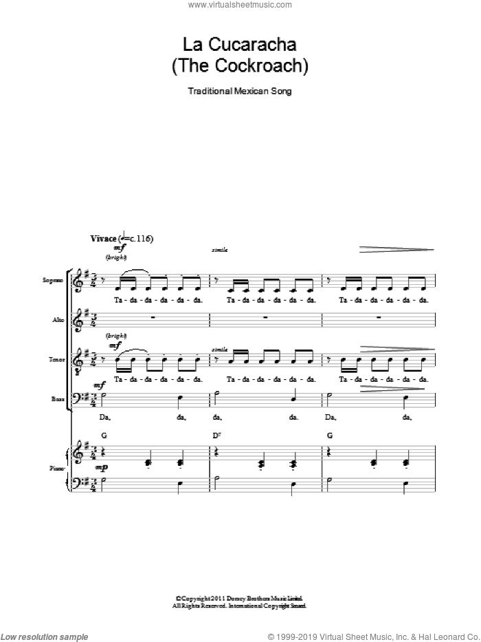 La Cucaracha (The Cockroach) sheet music for choir and piano (SATB) by Dorsey Brothers Music Limited and Miscellaneous. Score Image Preview.