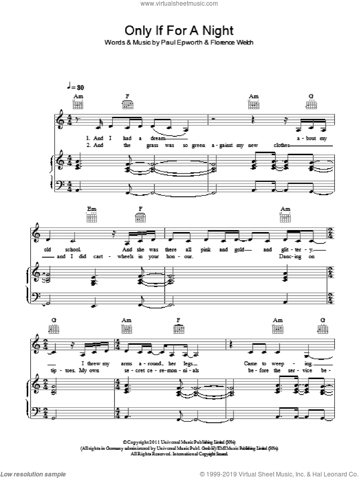 Only If For A Night sheet music for voice, piano or guitar by Florence And The Machine and Paul Epworth. Score Image Preview.