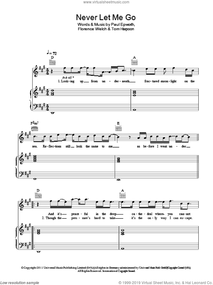 Never Let Me Go sheet music for voice, piano or guitar by Florence And The Machine and Paul Epworth. Score Image Preview.