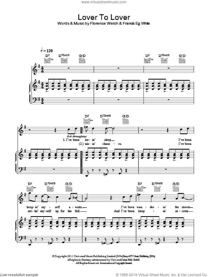 Lover To Lover sheet music for voice, piano or guitar by Florence And The Machine, Florence Welch and Francis White, intermediate skill level