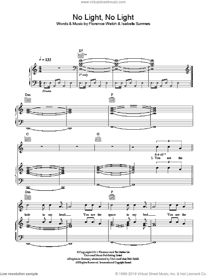 No Light, No Light sheet music for voice, piano or guitar by Isabella Summers and Florence Welch. Score Image Preview.
