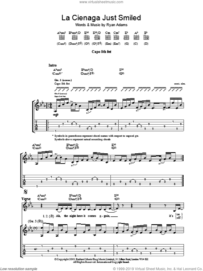 La Cienega Just Smiled sheet music for guitar (tablature) by Ryan Adams. Score Image Preview.
