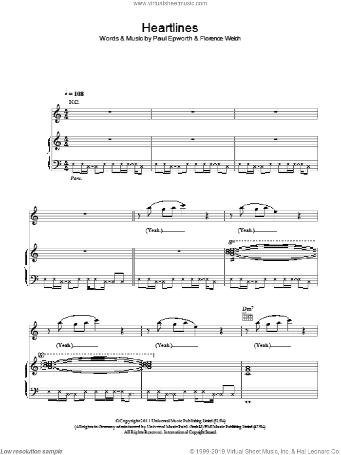 Heartlines sheet music for voice, piano or guitar by Florence And The Machine, Florence Welch and Paul Epworth, intermediate