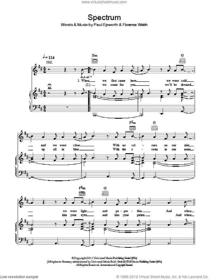 Spectrum sheet music for voice, piano or guitar by Paul Epworth and Florence Welch. Score Image Preview.