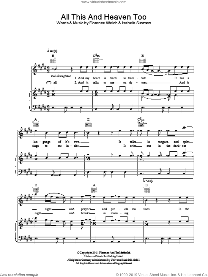 All This And Heaven Too sheet music for voice, piano or guitar by Isabella Summers and Florence Welch. Score Image Preview.
