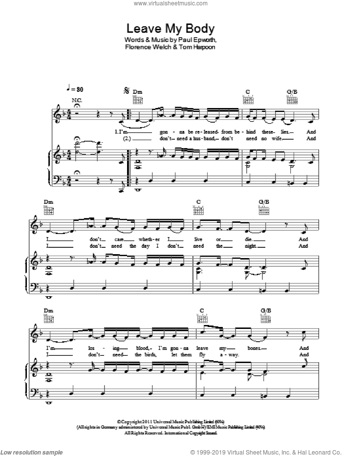 Leave My Body sheet music for voice, piano or guitar by Florence And The Machine, Florence Welch, Paul Epworth and Tom Harpoon, intermediate skill level