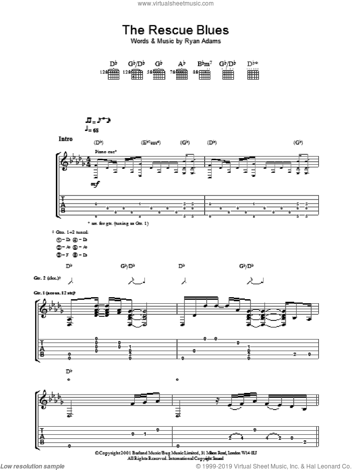 The Rescue Blues sheet music for guitar (tablature) by Ryan Adams, intermediate skill level
