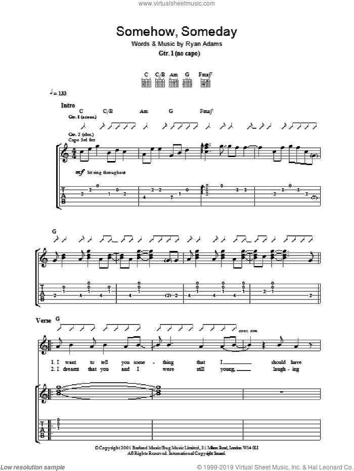 Somehow, Someday sheet music for guitar (tablature) by Ryan Adams, intermediate skill level