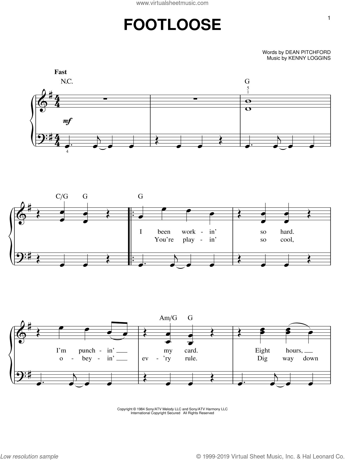 Footloose sheet music for piano solo by Kenny Loggins, Dean Pitchford and Tom Snow. Score Image Preview.
