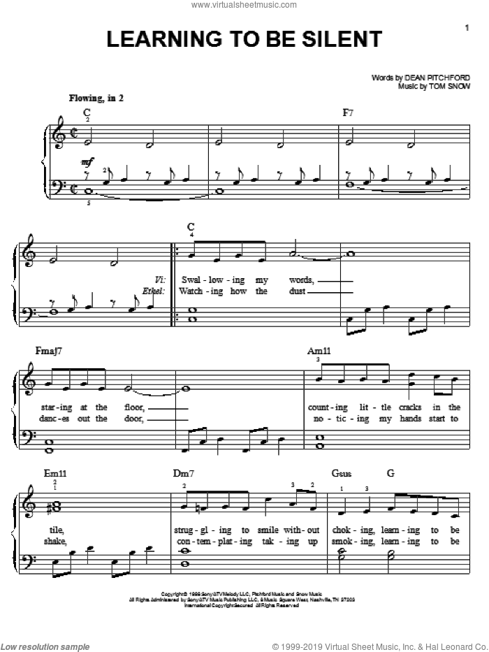 Learning To Be Silent sheet music for piano solo by Dean Pitchford, Footloose (Musical) and Tom Snow, easy skill level