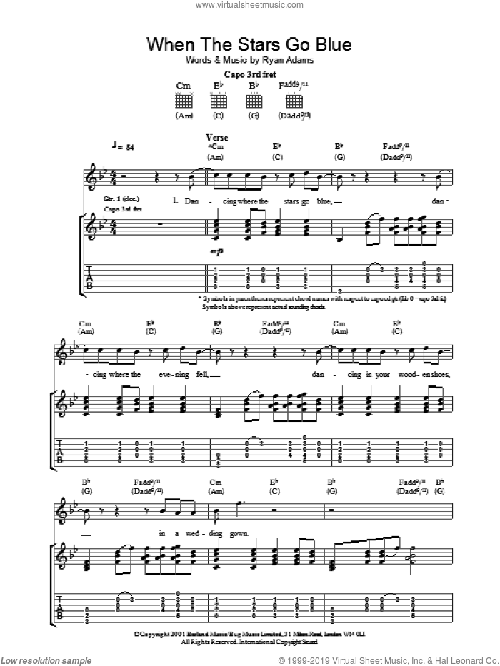 When The Stars Go Blue sheet music for guitar (tablature) by Ryan Adams