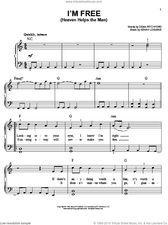 I'm Free (Heaven Helps The Man) sheet music for piano solo by Dean Pitchford, Footloose (Musical) and Tom Snow, easy skill level
