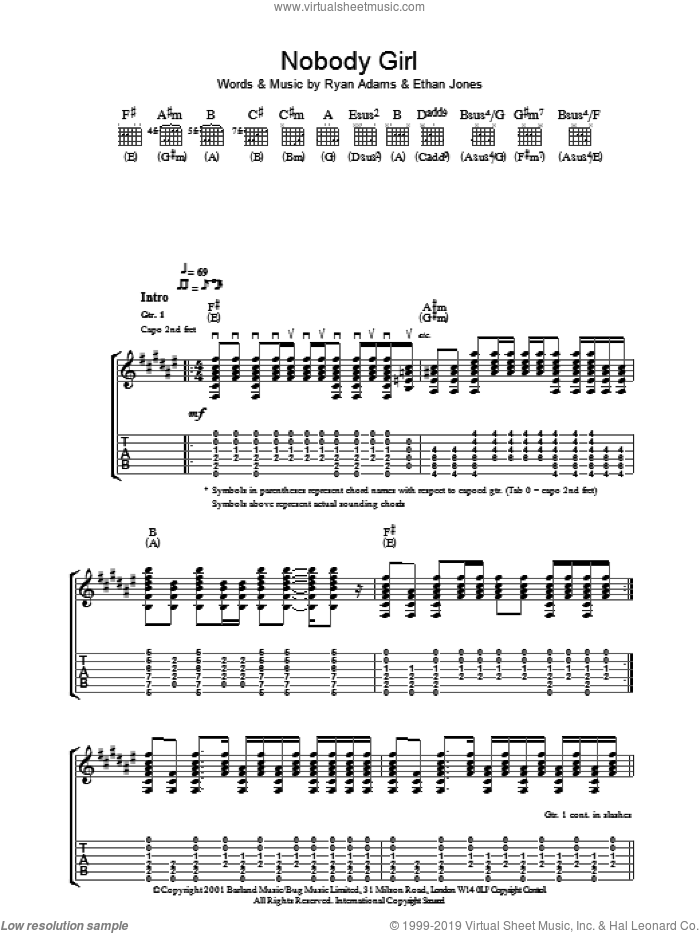 Nobody Girl sheet music for guitar (tablature) by Ryan Adams and Ethan Johns, intermediate skill level